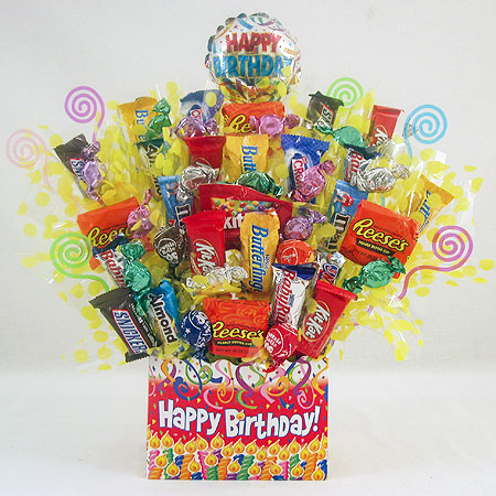 #102 Happy Birthday Candy Bouquet Gift Basket