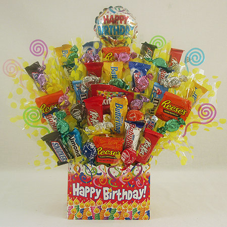 102 Happy Birthday Candy Bouquet Gift Basket