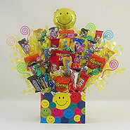#107 Smiley Face Candy Bouquet Gift Basket