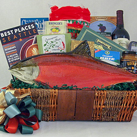 26 Northwest Greetings Gourmet Gift Basket with Hand Painted Pottery Salmon Platter