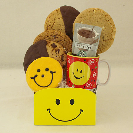 #119 Smiley Face Cookie and Gourmet Cookies and Starbucks Cocoa Gift Basket