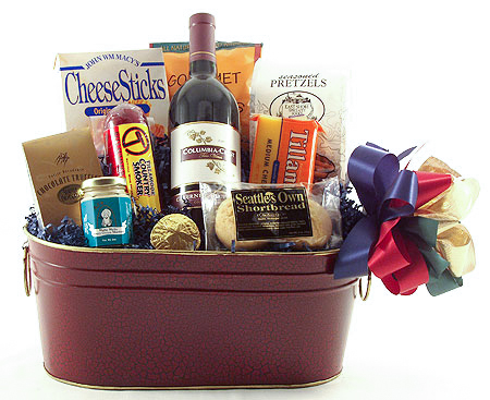 #12 Northwest Wine Basket with Beef Summer Sausage
