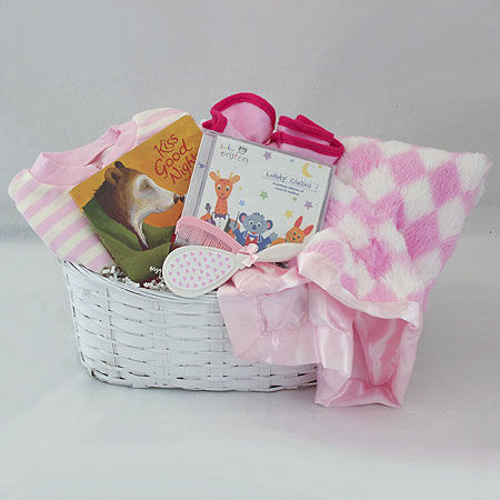 #122A Kiss Good Night Baby Girl Gift Basket