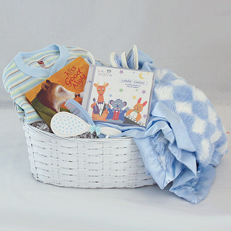 #122B Kiss Good Night Baby Boy Gift Basket