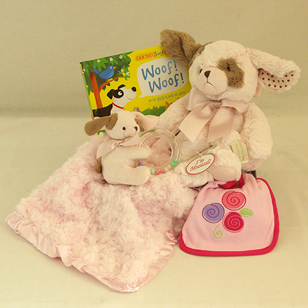 127A Sweet Baby Girl Gift Basket with Pink Puppy Musical Pullstring