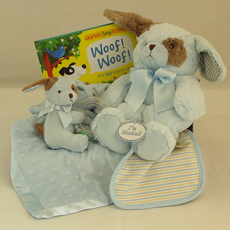 #124B Sweet Baby Boy Gift Basket with Blue Puppy Musical Pullstring