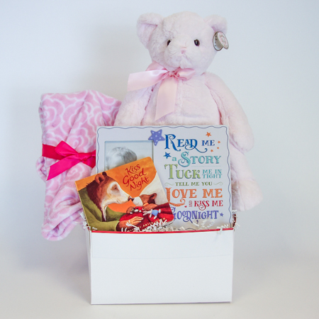126A Read Me a Story, Kiss Me Goodnight Baby Girl Gift Basket