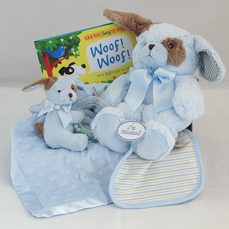 #127B Sweet Baby Boy Gift Basket with Blue Puppy Musical Pullstring