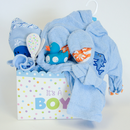 128B Baby Boy Bath Time Gift Basket
