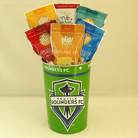 #152B Gourmet Popcorn Sampler in a Seattle Sounders Tin