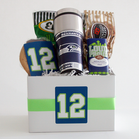 #161A Snack Gift Basket with NFL Seattle Seahawks Travel Tumbler