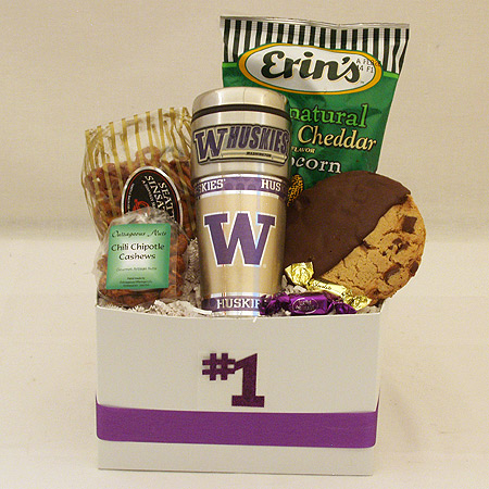 #161D Snack Gift Basket with University of Washington Huskies Travel Tumbler