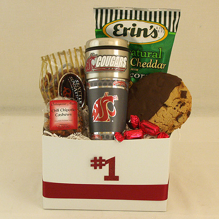 #161E Snack Gift Basket with Washington State University Cougars Travel Tumbler