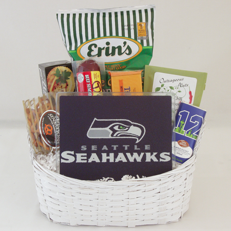 #162A Tailgate Gift Basket with NFL Seahawks Cutting Board