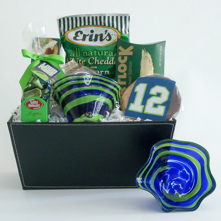 #164 The 12th Man Blown Glass Bowl Gift Basket