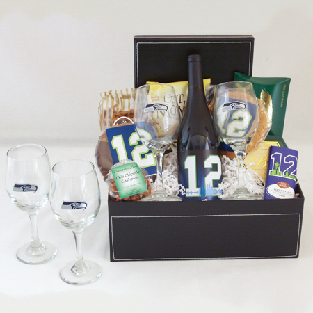 166 Seattle Seahawks Wine and Dine Gift Basket with 12th Man Wine and a Pair of Seahawk Wine Glasses