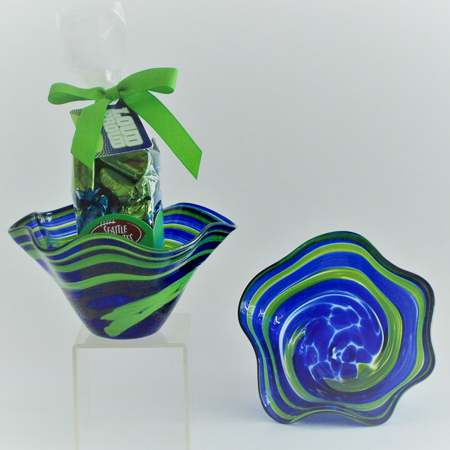 #167 The 12th Man Blown Glass Bowl and Seattle Chocolate Truffles