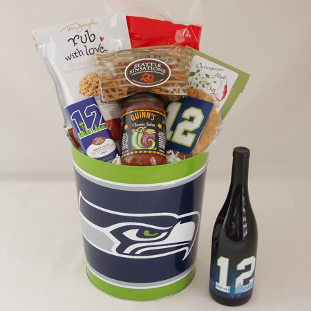 162B Seattle Seahawks Tin Filled with Yummy Snacks and 12th Man Wine