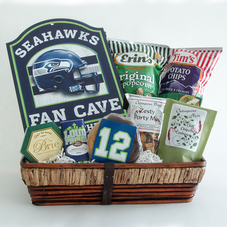 #169 Seahawks Fan Cave Gift Basket