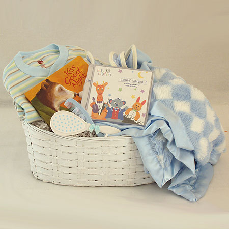 #16B Kiss Good Night Baby Boy Gift Basket