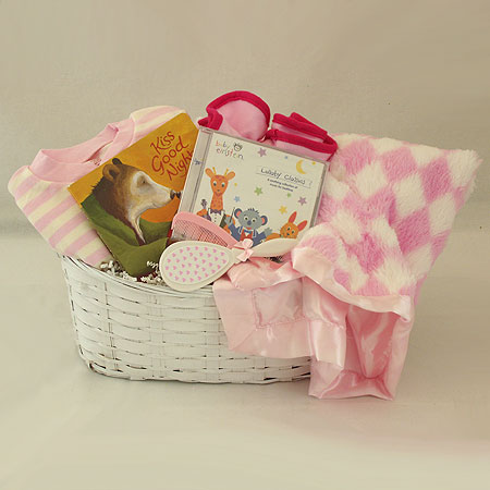 #16A Kiss Good Night Baby Girl Gift Basket