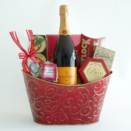 #18B Champagne Toast Gift Basket with Veuve Clicquot French Champagne