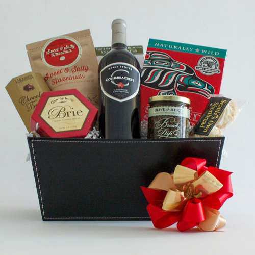 #1B Northwest Gift Basket with Smoked Salmon & Wine or Champagne
