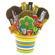 #80A Gourmet Cookies and Chocolate Candy Gift Basket with Flower Cookie