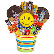 #80D Gourmet Cookies and Chocolate Candy Gift Basket with Smiley Face Cookie