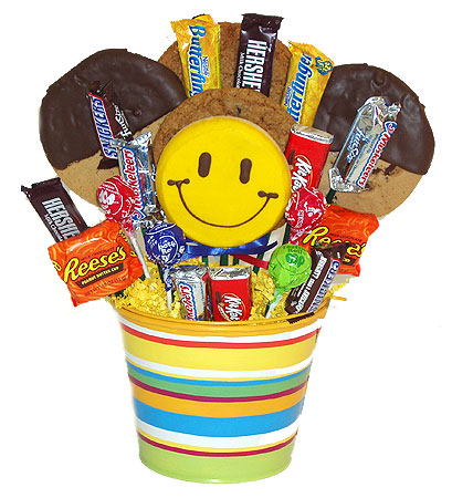 #80D Gourmet Cookies and Chocolate Candy Gift Basket with Smiley Face Sucker