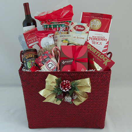 Holiday A Northwest Gourmet Holiday Christmas Gift Basket with Wine or Champagne or Sparkling Cider