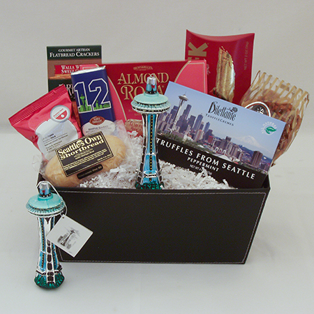 Holiday M Happy Holidays Seattle Gift Basket with Seattle Space Needle Ornament