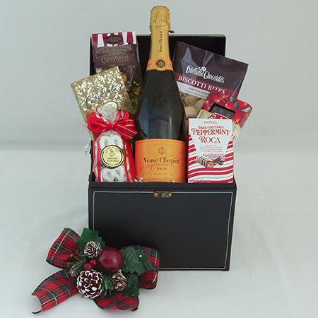 Holiday Q Holiday Cheer with Veuve Clicquot French Champagne and Chocolates Gift Basket
