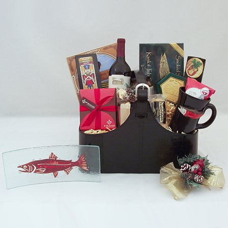 Holiday Y Northwest Art The Executive Gourmet Holiday Wine Gift Basket with Jones Glassworks Copper Salmon Plate and Pottery Salmon Mug by Christina Boyd