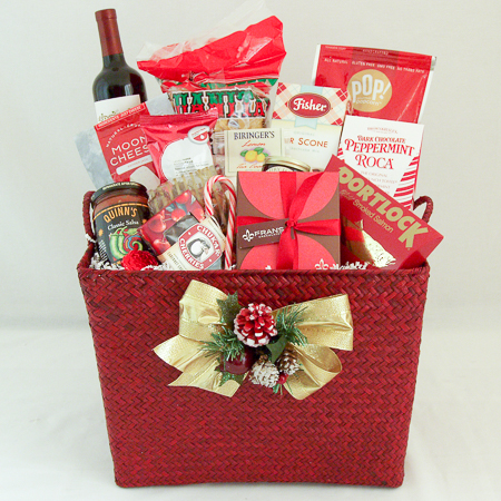Holiday #A Northwest Gourmet Holiday Christmas Gift Basket with Wine or Champagne or Sparkling Cider