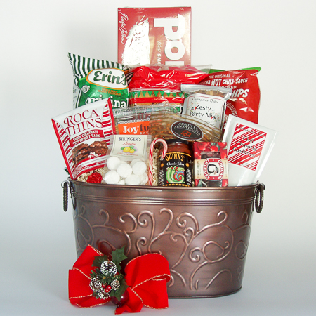 Holiday #C Extra-Large Holiday Crowd Pleaser Gift Basket with Portlock One Pound Smoked Salmon Fillet at $138.95