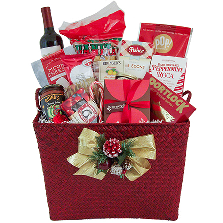 A Northwest Gourmet Holiday Gift Basket with Wine or Champagne or Sparkling Cider