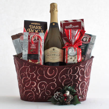 AA Cheers and Chocolates Champagne Gift Basket with Ste. Michelle Sparkling Brut