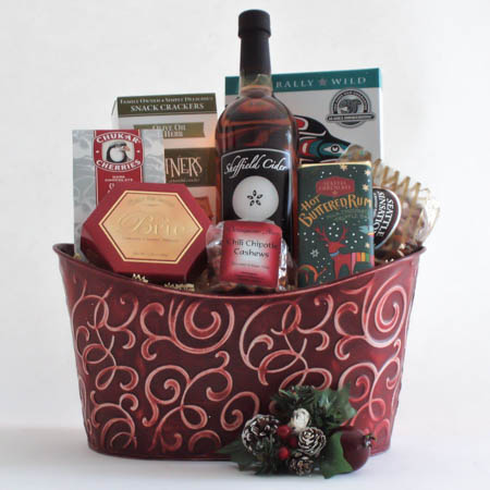 B Holiday Northwest Gift Basket with Smoked Salmon & Sparkling Apple Cider