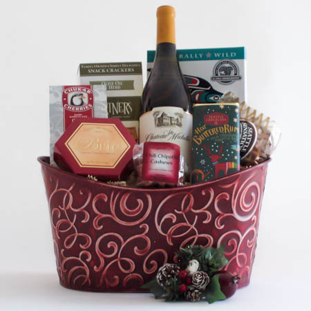 L Holiday Northwest Wine Gift Basket with Smoked Salmon