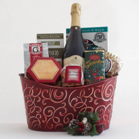 N  Holiday Northwest Gift Basket with Smoked Salmon & Ste. Michelle Sparkling Brut