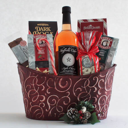 X Cheers and Chocolates Gift Basket with Sheffield Sparkling Apple Cider
