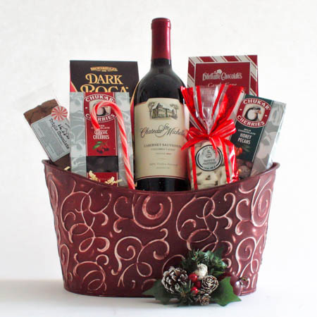 Y Cheers and Chocolates Wine Gift Basket