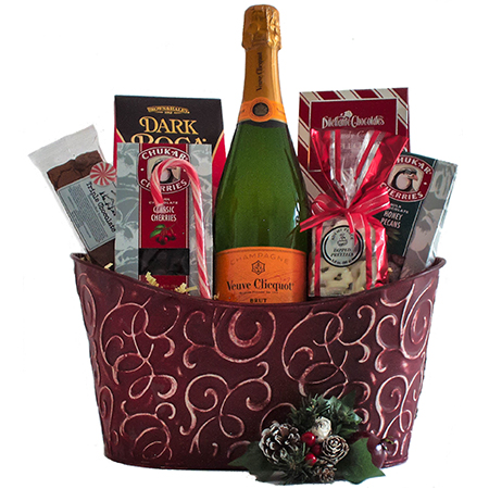 Z Cheers and Chocolates Champagne Gift Basket with Vve Clicquot French Champagne