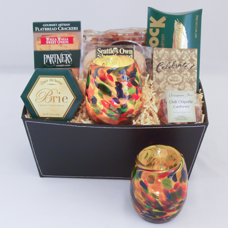 #23 Hand Blown Glass Votive in Earth Tones by Totally Blown Glassworks of Seattle Gourmet Gift Basket