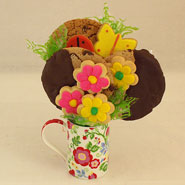 #25 Springtime Cookie Arrangement in a Flowered Mug