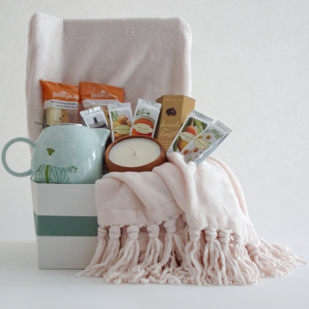 #25A To Cheer and Comfort You Tea Gift Basket with Cream Colored Throw and Lotus Blossom Teapot
