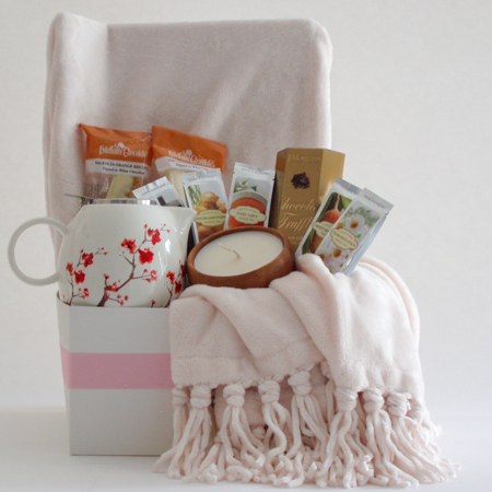 #25B To Cheer and Comfort You Tea Gift Basket with Cream Colored Throw and Cherry Blossom Teapot