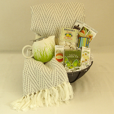 #25A  To Cheer and Comfort You Tea Gift Basket with Cream Colored Throw and Green & White Teapot