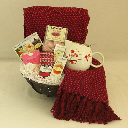 #25B  To Cheer and Comfort You Tea Gift Basket with Burgundy Colored Throw and Cherry Blossom Teapot